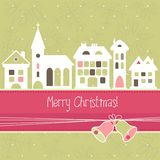 Christmas card. With houses and bells, vector Stock Photos