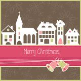 Christmas card. With houses and bells, vector Stock Images