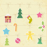 Christmas card. Green Christmas card with balls, stars, gift Stock Image