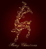 Christmas Card. With gold ornaments raindeer on red background Royalty Free Stock Photography