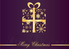 Christmas Card. With gold gift box on violet background Royalty Free Stock Images