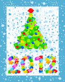 Christmas card. With a Christmas tree and the inscription 2012 Stock Images