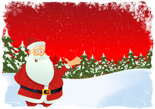 Christmas Card. Illustration of christmas card with santa claus chararcter and winter landscape Stock Image