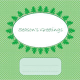 Christmas card. Season's greetings over a green pop art background as snow, christmas and new year 2012 winter card Royalty Free Stock Photo
