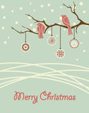 Christmas card. Vintage card with birds on branch Royalty Free Stock Photo