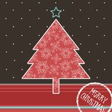 Christmas card. With decorated tree Royalty Free Stock Photos