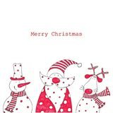 Christmas card. Artistic work. Ink on paper Stock Photos