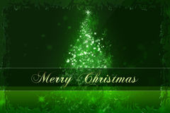 Christmas Card. Green Christmas Card With Decorations Stock Photo
