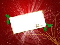 Christmas card. Christmas greeting card with white  board decorative gold floral shape Royalty Free Stock Photos
