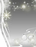 Christmas card. Grey christmas card with light effects bubbles, stars, balls and snowflakes royalty free illustration
