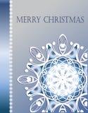 Christmas card. Beautiful cristmas snowflake on blue background Stock Photo