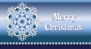 Christmas card. Beautiful cristmas snowflake on blue background Stock Image