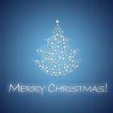 Christmas Card. Blue Christmas card with Christmas tree and Merry Christmas Stock Image