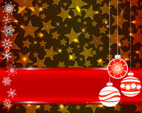 Christmas card. Christmas card with red banner, stars and snowflakes Royalty Free Stock Photo