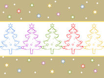 Christmas card. Illustration of colorful christmas trees on a stars background royalty free illustration