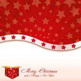 Christmas card. Red Christmas card with stars and starry gift box, vector illustration additional Royalty Free Stock Images
