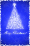 Christmas card. Blue christmas card with christmas tree and Merry Christmas written on it royalty free illustration