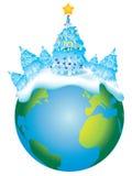 Christmas Earth royalty free illustration