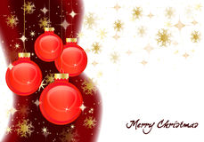 Christmas card. With a decorative red balls and stars Royalty Free Stock Image