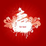 Christmas card. Vector illustration of christmas card with stylized fir tree and grunge elements Stock Photo