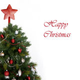 Christmas card. Christmas tree with decoration, isolated on white - Christmas card Stock Photography
