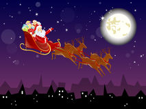 Christmas card. Illustration of santas sleigh in the winter sky Stock Photography