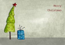 Christmas card. Colorful handmade illustration. Acrylic colours on paper Royalty Free Stock Photography