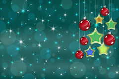 Christmas Card. Christmas background with baubles and snowflakes Stock Illustration