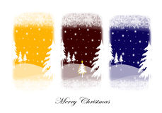 Christmas card. Christmas background with trees and snow in three colours Stock Photo