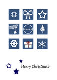 Christmas card. Set of Christmas icons on a blue background Royalty Free Stock Images