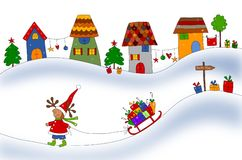 Christmas card. Colorful graphic illustration for children Royalty Free Stock Image