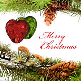 Christmas card. Christmas composition with hearts and greeting Stock Image