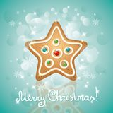 Christmas card. With a gingerbread and stars, star shape Royalty Free Stock Image