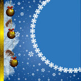 Christmas card. New year card with christmas decor, on snowflakes background Royalty Free Stock Image