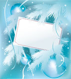 Christmas card. Invitation or gift card on snowy christmas background Royalty Free Stock Images