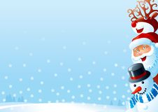 Christmas card. Of Santa Claus, snowman and Red-Nosed Reindeer  on winter snow landscape Royalty Free Stock Images