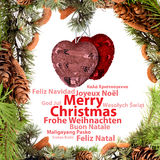 Christmas card. With the greetings in various languages Royalty Free Stock Image