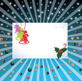 Christmas card. With beams, with candies and gifts Stock Images