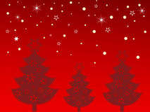 Christmas card. Illustration of christmas trees and golden stars on a red background stock illustration