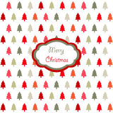 Christmas card. Colorful christmas tree icons on the white background Stock Photography
