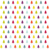 Christmas card. Colorful christmas tree icons on the white background stock illustration