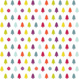 Christmas card. Colorful christmas tree icons on the white background Stock Image