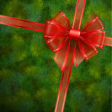 Christmas card. Red transparent bow on fir tree texture. Vector illustration Royalty Free Stock Photos