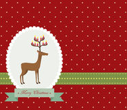 Christmas card. Red vintage Christmas card with cute deer Stock Image