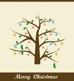 Christmas card. A christmas tree card with decoratives Stock Illustration