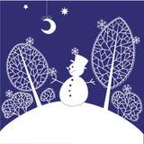 Christmas card. Blue Christmas card with snowman Stock Photos