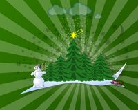 Christmas card. With tree and stars Royalty Free Stock Photo