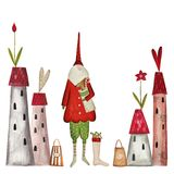 Christmas card. Artistic work. Acrylic and watercolors on paper Royalty Free Stock Photos