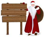 Christmas card. Winter holidays. Santa Claus with wooden sign. Vector Illustration Stock Image