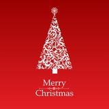 Christmas card. Vector image of christmas card with a red background with a christmas tree and merry christmas text stock illustration